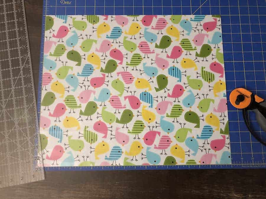 Measure and cut fabric for reusable snack bag