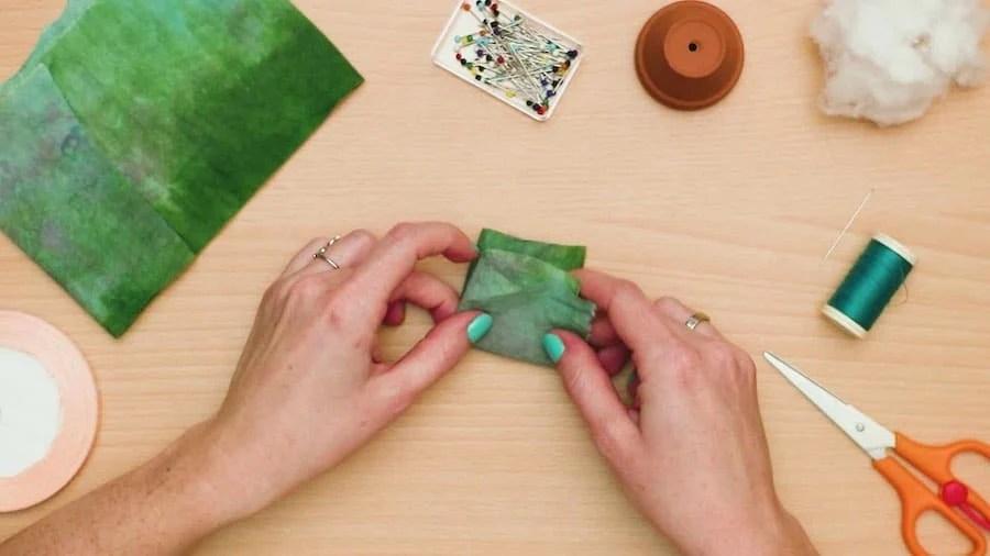 Fold fabric in half twice