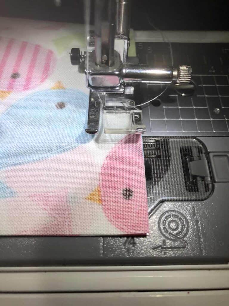 Sew all the way around the rectangle leaving an opening for turning