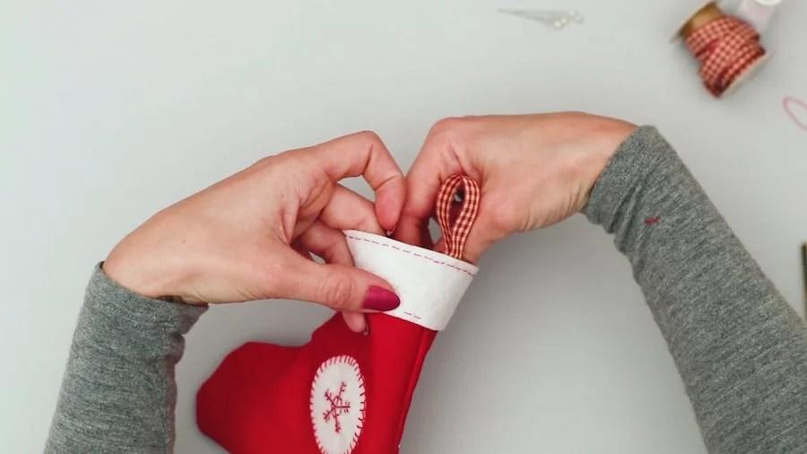 Sew along bottom edge of DIY Mini Stocking Gift Card Holder