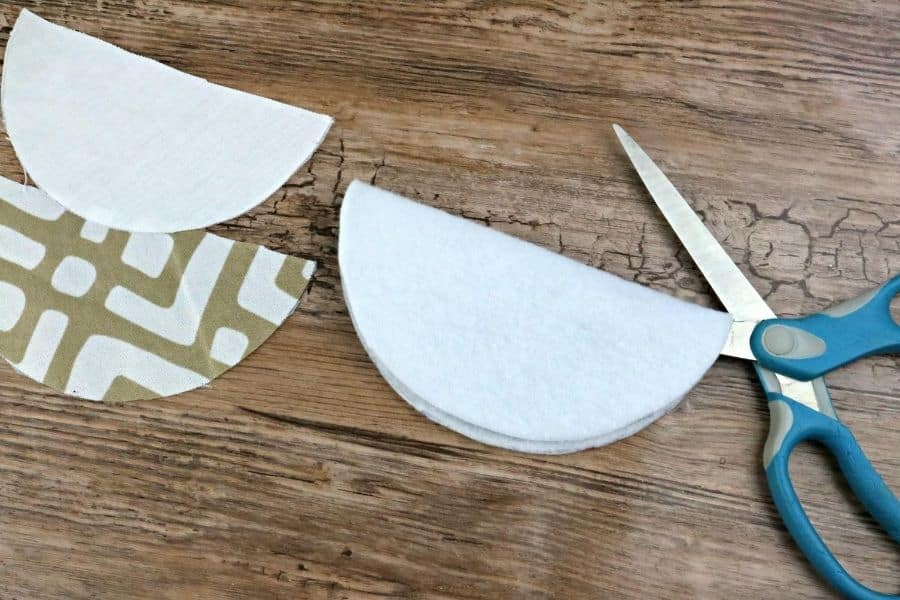 cutting out the fabric pieces