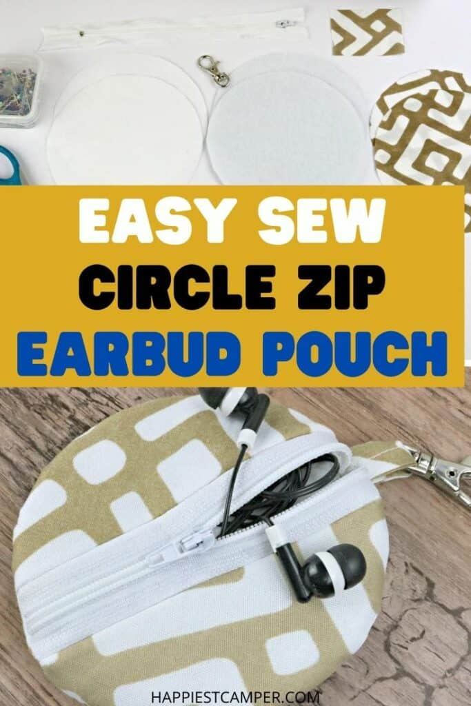 Easy Sew Circle Zip Earbud Pouch