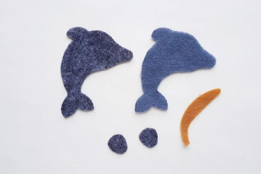 felt fabric cutout for dolphin