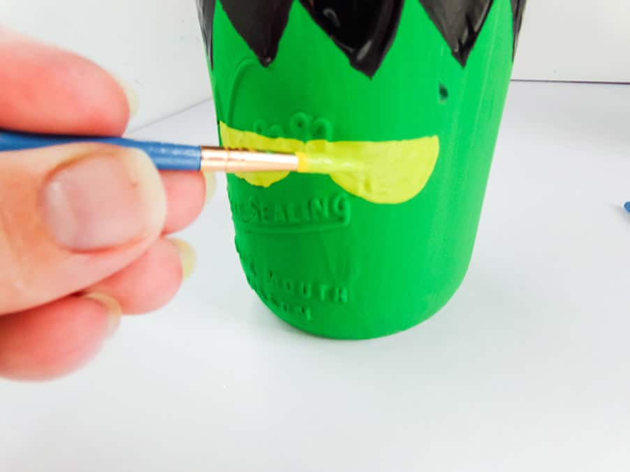 painting eyes frankenstein mason jar