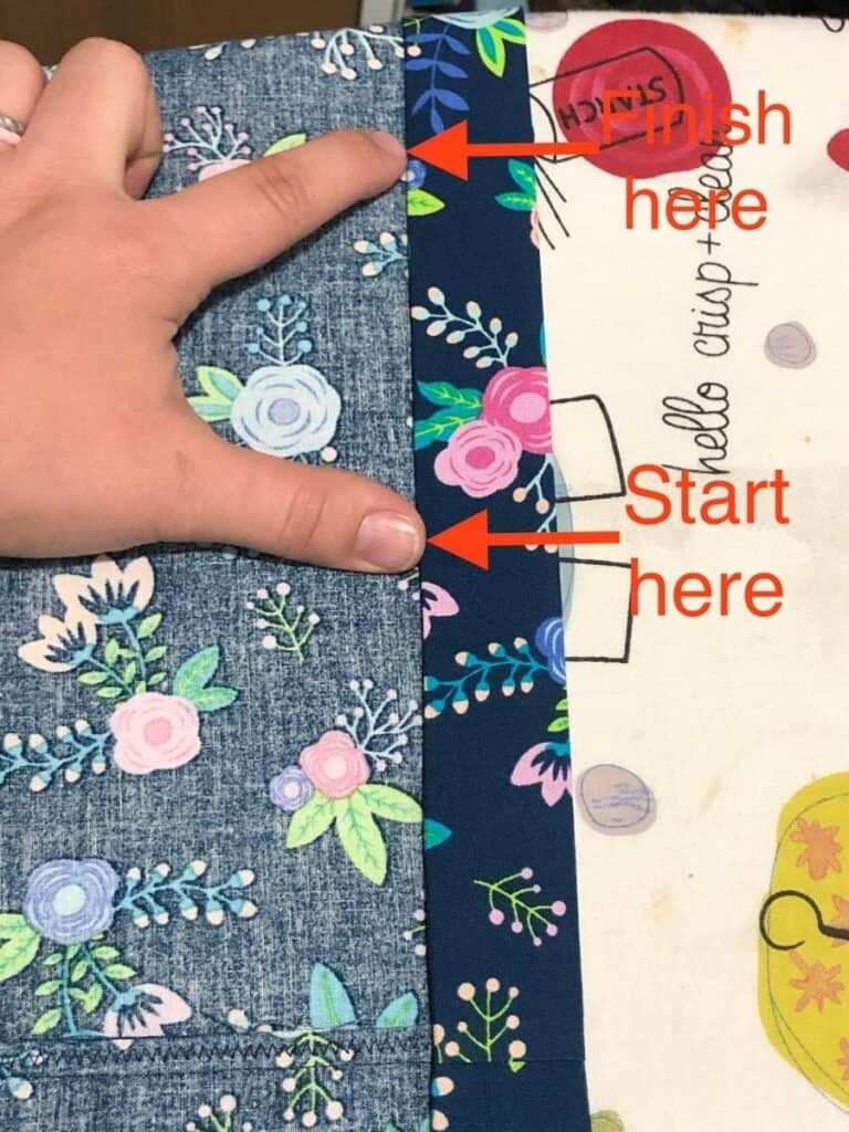 showing where to stop and start sewing