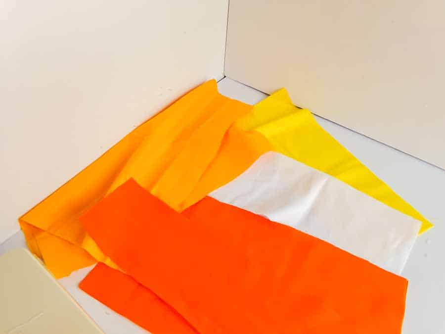 Cutting fabric for candy corn tote