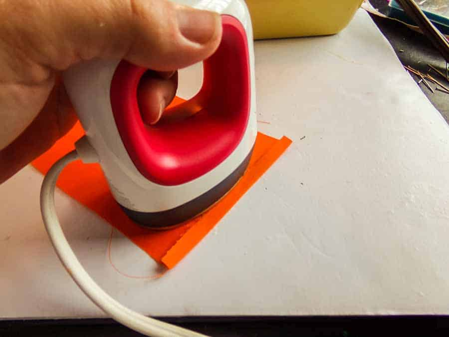 ironing handles for Halloween candy corn tote