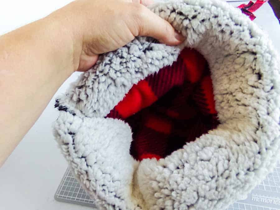 flipping No-Sew Fleece Hat out