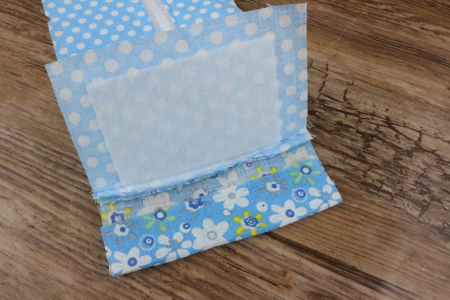 Fold the top fabric flap up