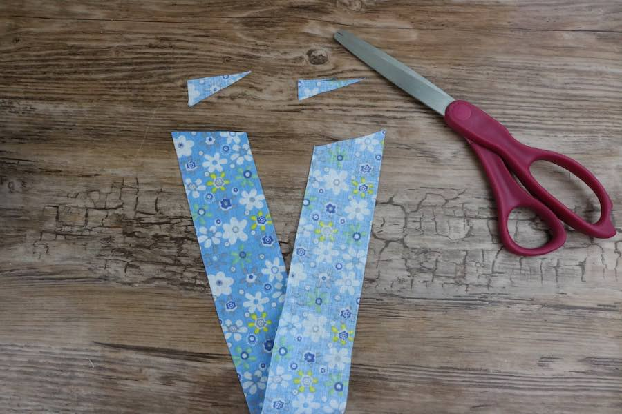 """Two-liner fabrics 14"""" x 1"""" ⅝ and angle the ends"""