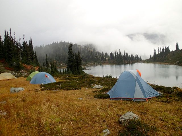 Fall backpacking campsite
