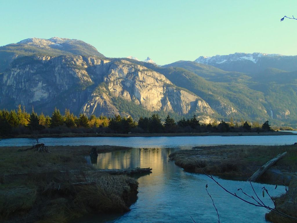 View of the Stawamus Chief from the Squamish River estuary