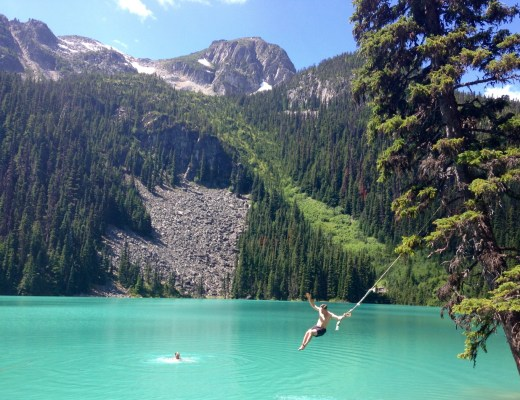 Rope swing at Joffre Lakes