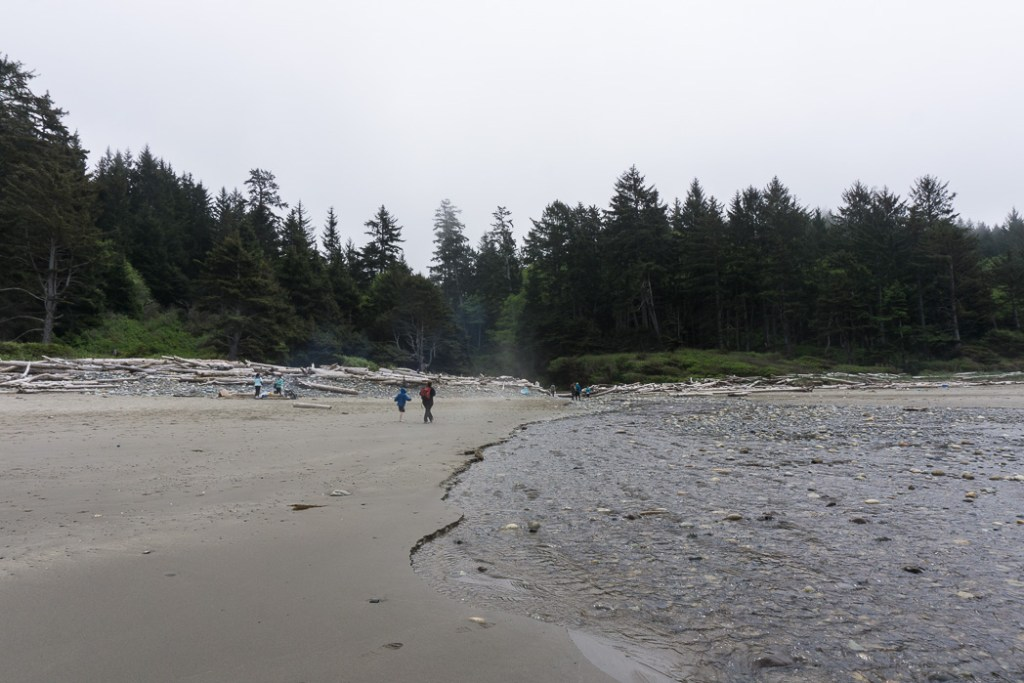 Crossing a creek on Shi Shi Beach. A complete guide to hiking and camping at Shi Shi Beach.