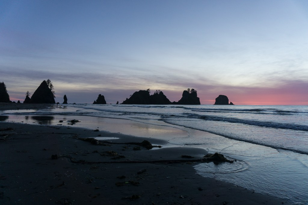 Sunset at Point of the Arches on Shi Shi Beach. Complete guide to hiking and camping at Shi Shi Beach.