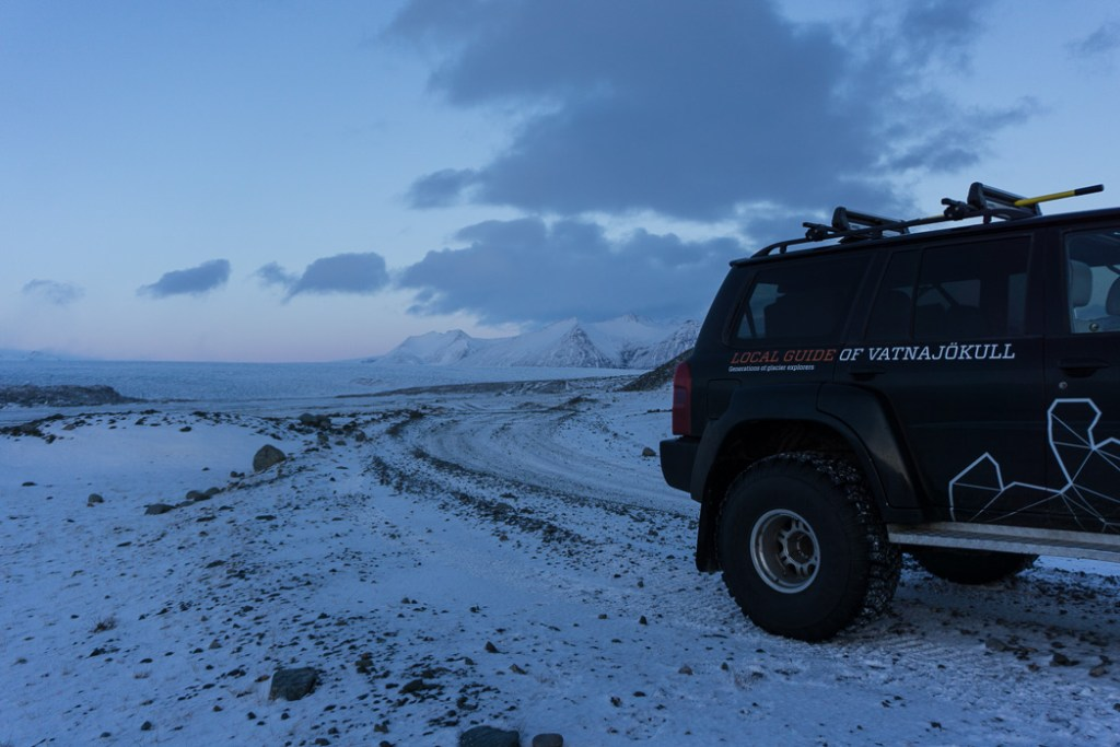 Super jeep on the way to an ice cave in Iceland. The Ultimate Guide to Ice Caves in Iceland: Everything you ever needed to know about visiting ice caves in Iceland. Find out how to go INSIDE the Crystal Cave glacier ice cave to see the blue ice.