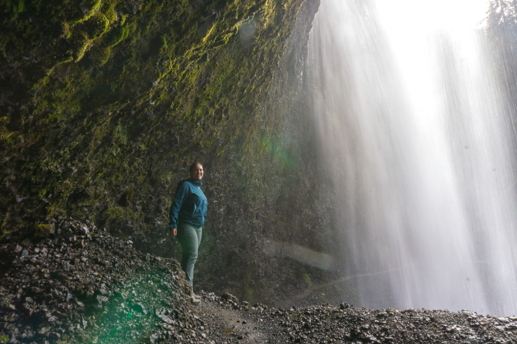 Standing behind Moul Falls, one of the many gorgeous waterfalls in Wells Gray Provincial Park near Kamloops, BC