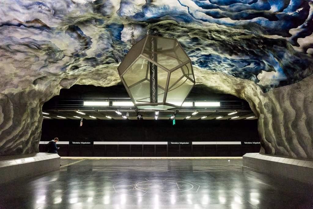 Tekniska Hogskolan station in Stockholm's Tunnelbana subway system. 30 photos of Stockholm that will inspire you to visit.