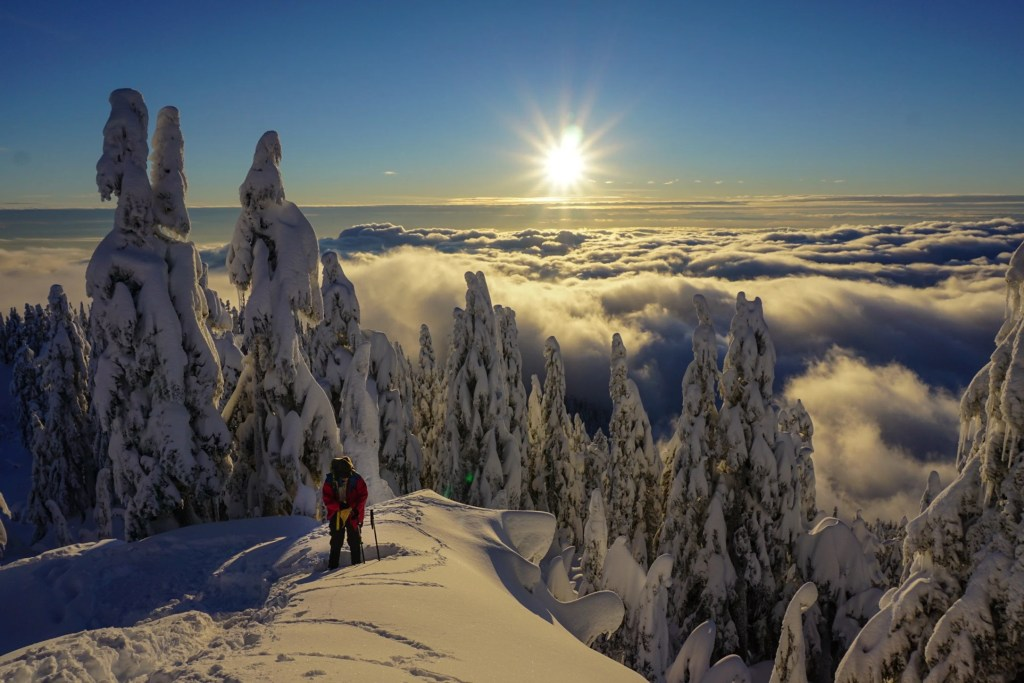 Snowshoe grind at Grouse Mountain near Vancouver, BC. The Ultimate Guide to Snowshoeing in Vancouver.