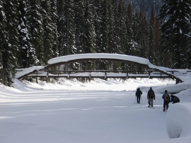 Snowshoeing to the Rainbow Bridge on the Lightning Lake Loop in Manning Park. Read about how to snowshoe here in the Ultimate Guide to Snowshoeing in Manning Park near Vancouver, BC, Canada