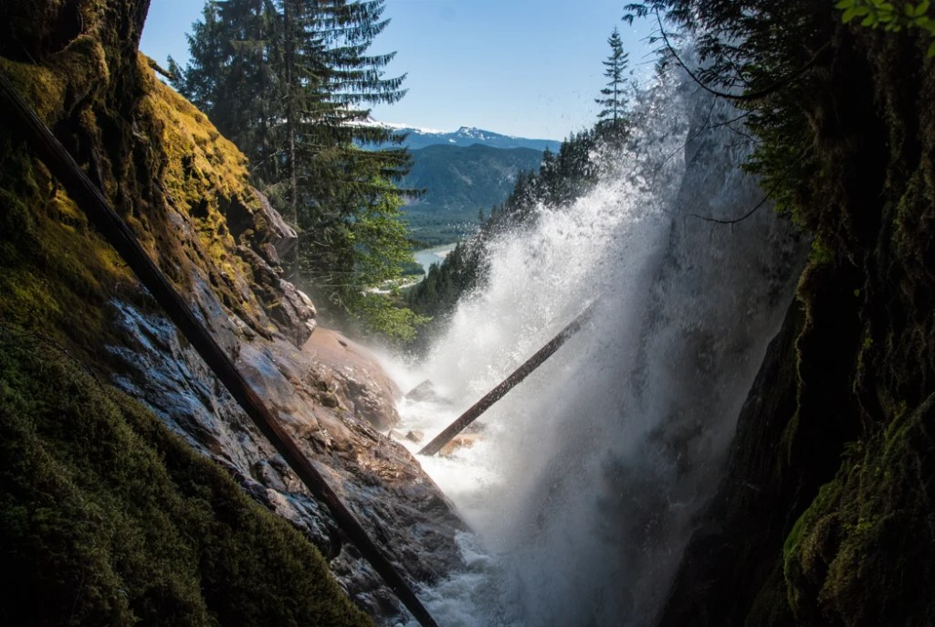 Crooked Falls in Squamish, one of over 100 snow-free hikes in Vancouver that you can hike all year long.