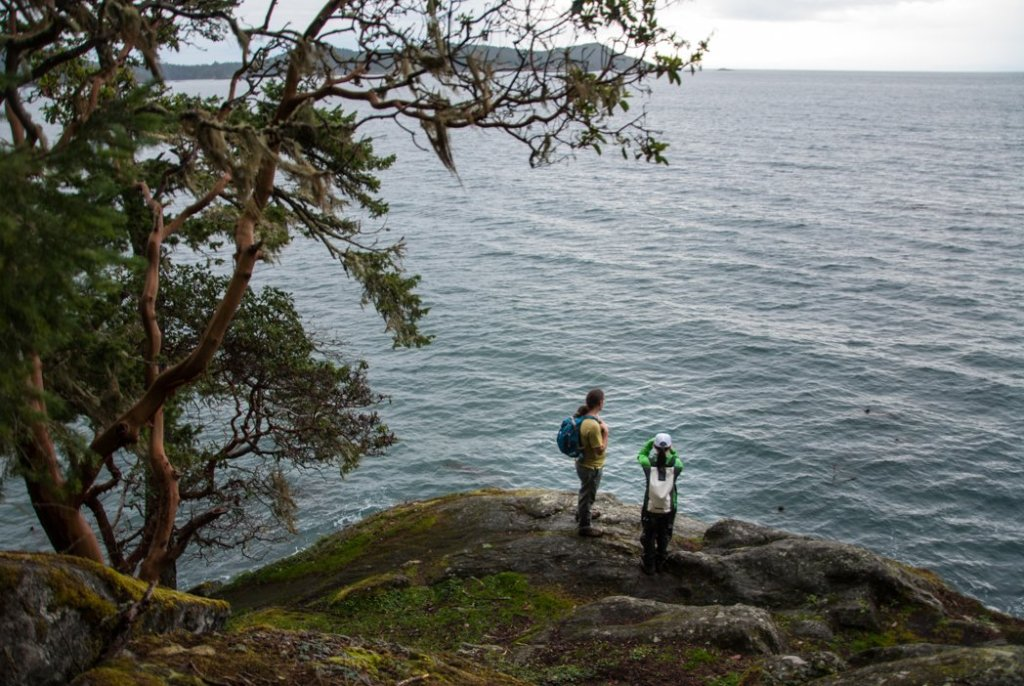 Hiking the coastal trail at East Sooke Park. Just one of many beautiful hikes along the Pacific Marine Circle Route on Vancouver Island.