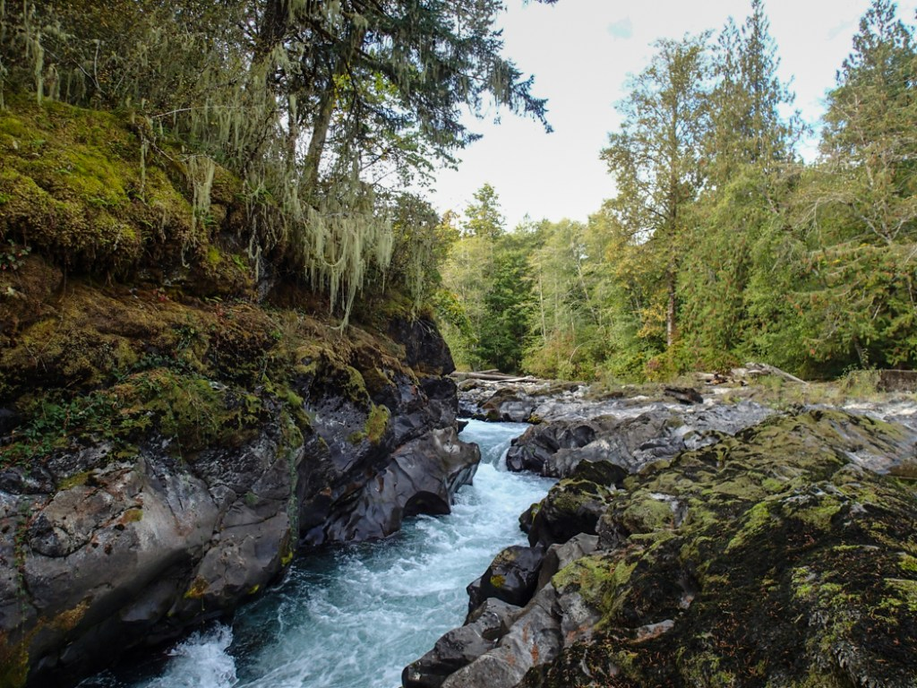 Skutz Falls on the Cowichan River is an easy side trip from the Pacific Marine Circle Route on Vancouver Island.