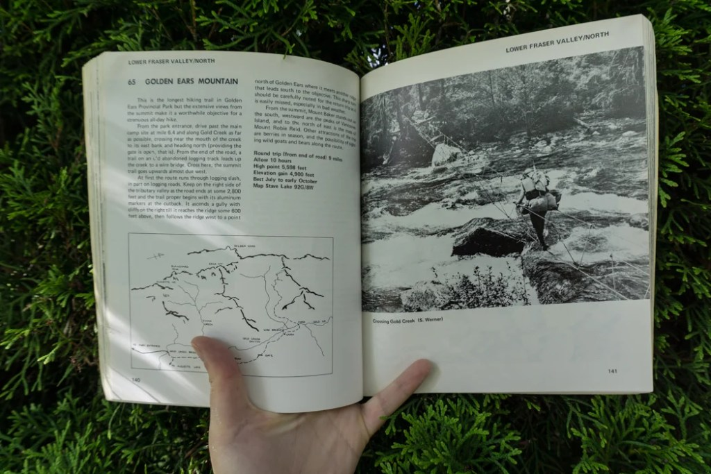 Hike 65 to Golden Ears from the first edition of 103 Hikes. Learn about the history of hiking guide books in BC from the 1st edition of 103 hikes in 1973 to the new 105 Hikes in and Around Southwestern British Columbia, published in 2018.