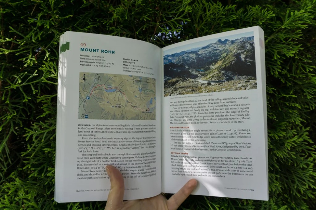 Hike 49 to Mount Rohr on the Duffey Lake road in 105 Hikes. Learn about the history of hiking guide books in BC from the 1st edition of 103 hikes in 1973 to the new 105 Hikes in and Around Southwestern British Columbia, published in 2018.