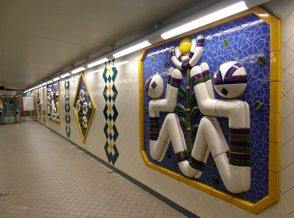 Art at Fridhemsplan Station on the Stockholm subway. Find out how to visit this station and 11 others on a self-guided tour of Stockholm subway art.