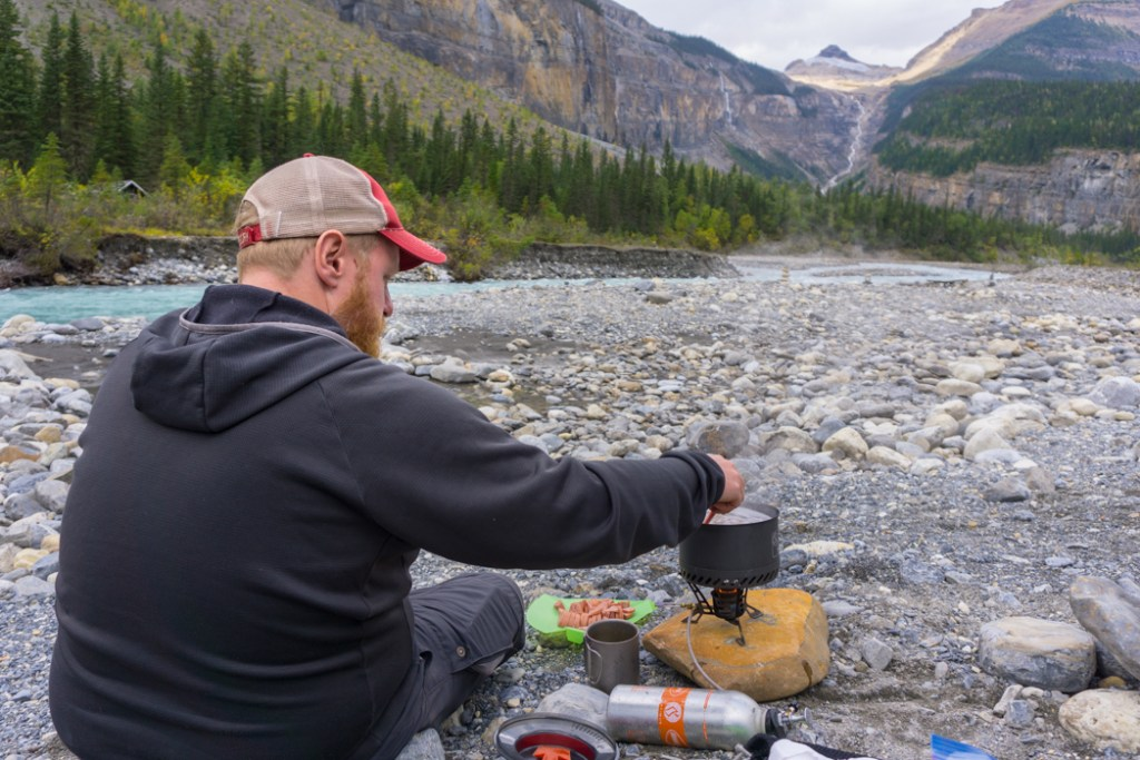 Cooking dinner at Whitehorn campground on the Berg Lake Trail. The Ultimate Guide to Hiking the Berg Lake Trail in Mount Robson Provincial Park in the Canadian Rockies