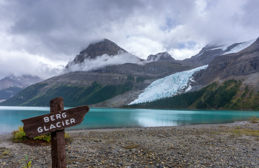 The view of the Berg glacier from near Marmot campground on the Berg Lake Trail. The Ultimate Guide to Hiking the Berg Lake Trail in Mount Robson Provincial Park in the Canadian Rockies
