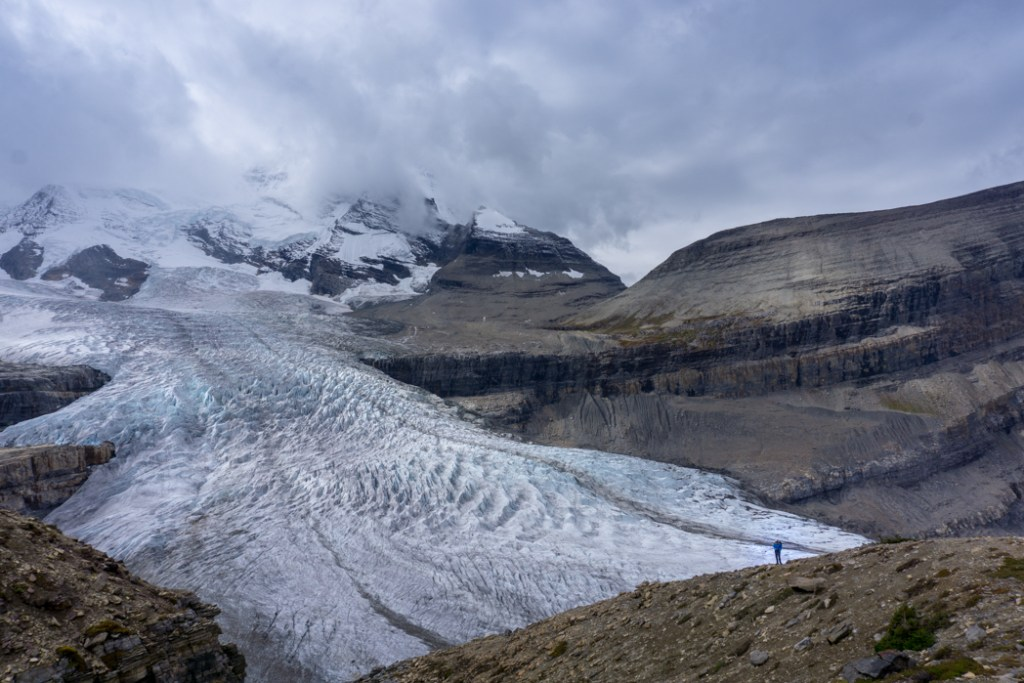 The view of the Robson Glacier from near Snowbird Pass. The Ultimate Guide to Hiking the Berg Lake Trail in Mount Robson Provincial Park in the Canadian Rockies