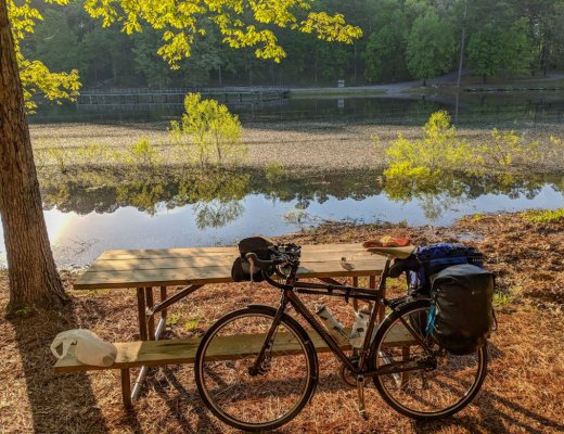 Bike at Tishomingo State Park campground along the Natchez Trace. Learn how to cycle tour the Natchez Trace Parkway in this detailed guide.