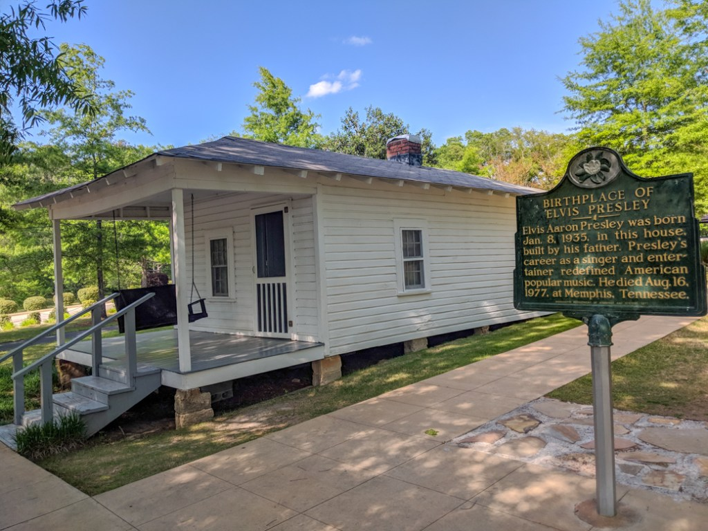 Elvis Presley's birthplace in Tupelo, MS near the Natchez Trace. Learn how to cycle tour the Natchez Trace Parkway in this detailed guide.
