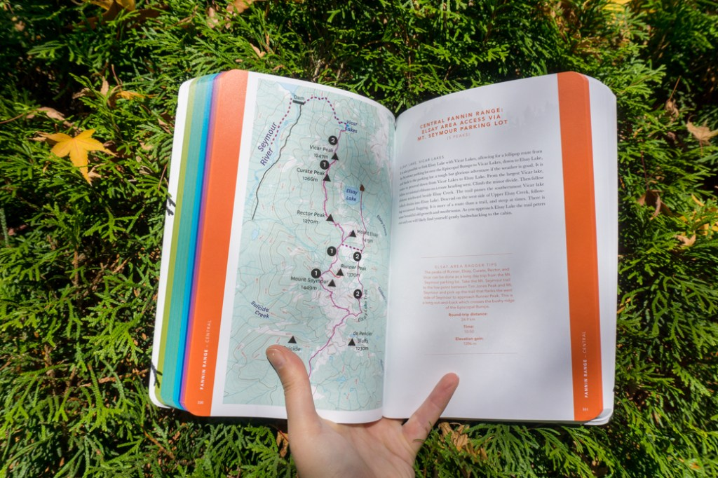 Two pages from inside The Glorious Mountains of Vancouver's North Shore showing a map and some text. Read my review of this book.