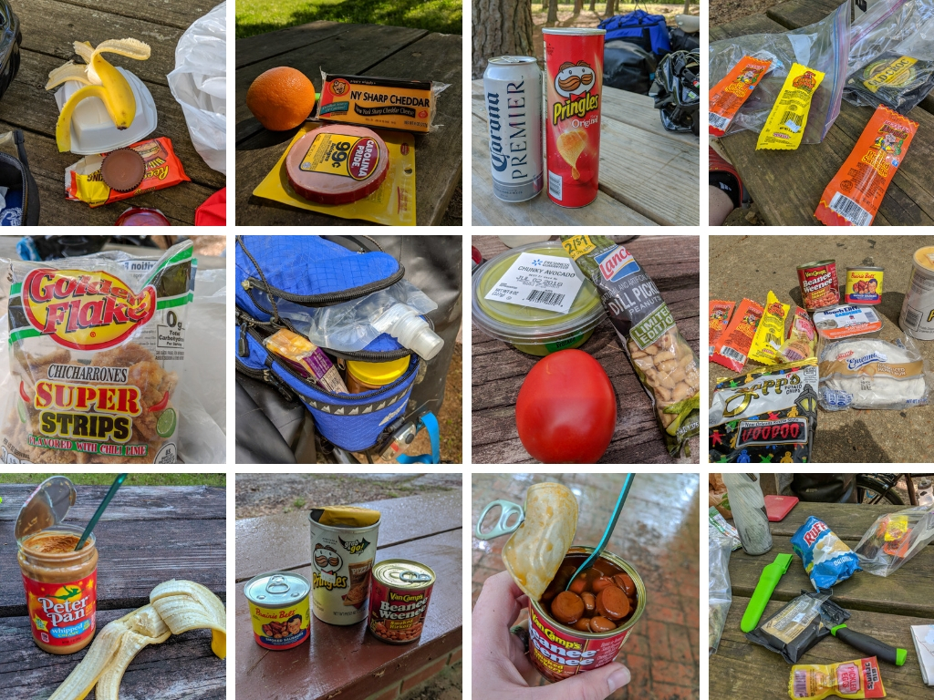 A selection of gas station food eaten along the Natchez Trace. Learn how to cycle tour the Natchez Trace Parkway in this detailed guide.