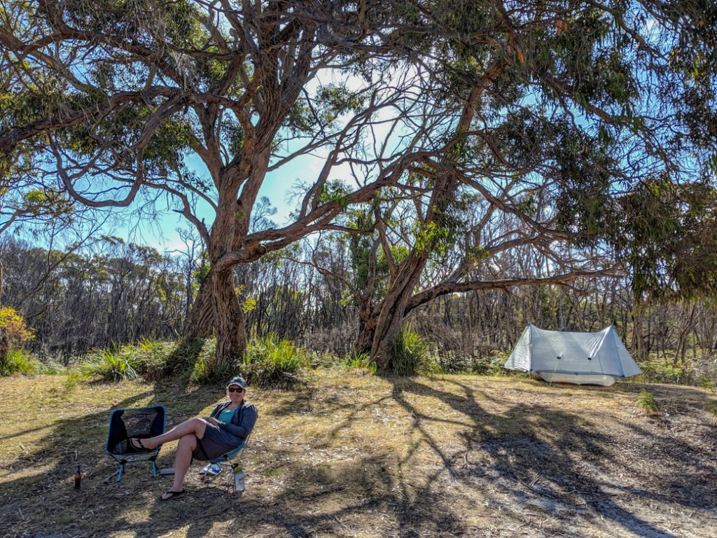 Camping at Arthur River in the Tarkine region of Tasmania, Australia.