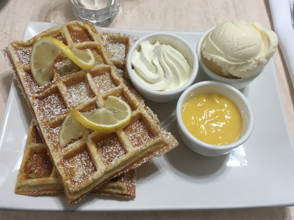 Waffles at the cafe at House of Anvers Chocolate in Devonport, Tasmania. Just one of over 40 things to do in Devonport and Tasmania's North West.