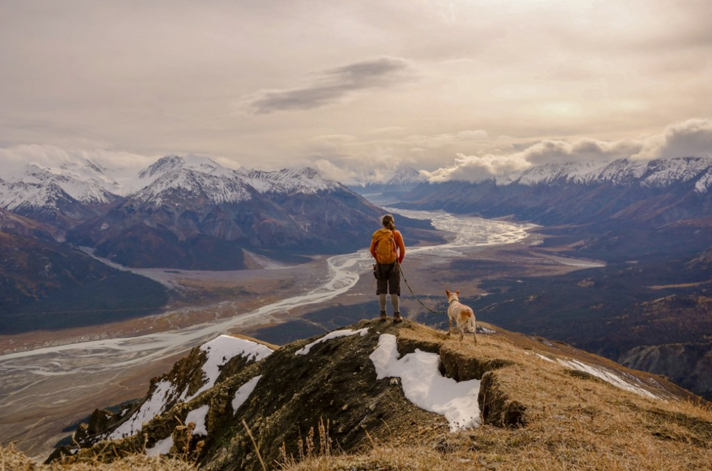 Amanda uses a leash with her dog Frank in the Yukon. Learn how to Leave No Trace with dogs to ensure you are considerate of other visitors.