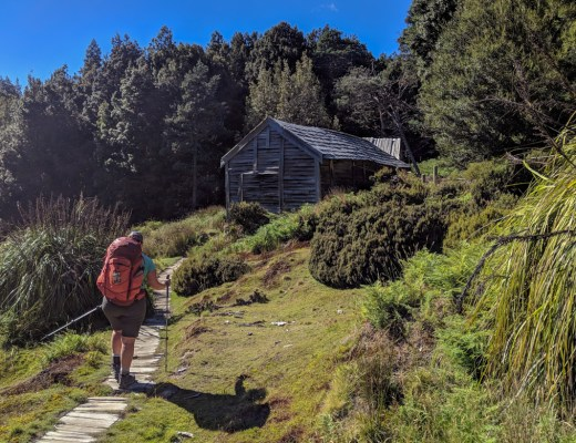 Approaching Du Cane Hut on the Overland Track in Tasmania.