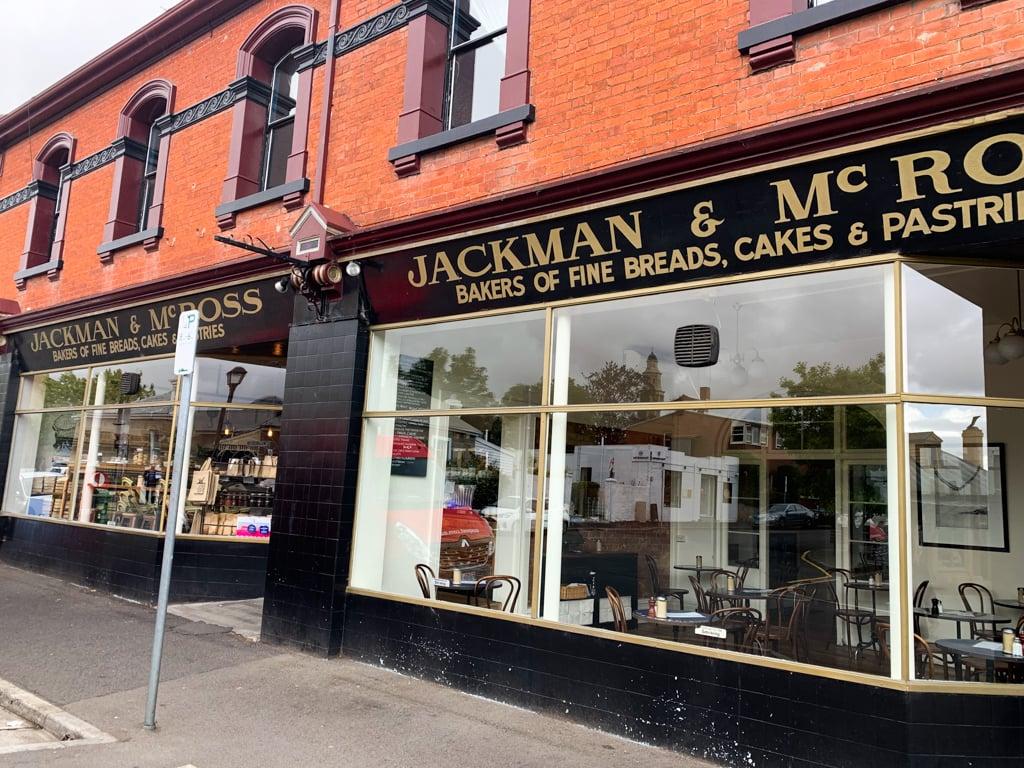 The brick exterior of Jackman and McRoss Bakery in Hobart, Tasmania
