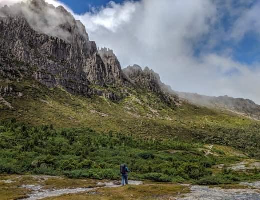 Hiking on Tasmania's Overland Track.