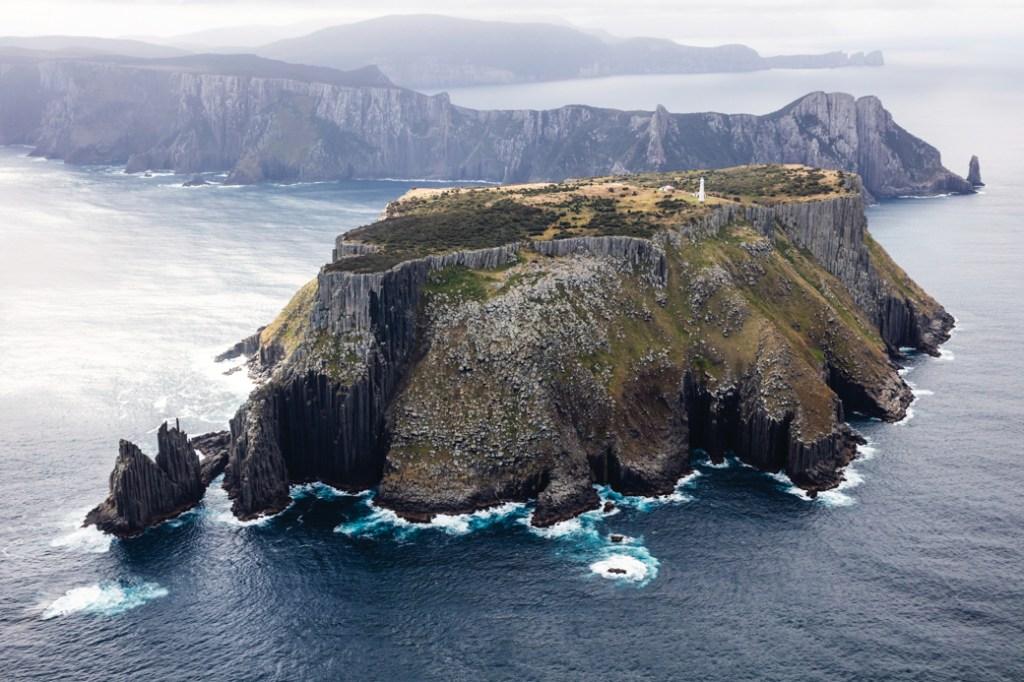 An aerial view of Tasman Island near Port Arthur, Tasmania, Australia.