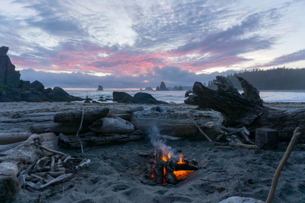 Beach campfire near Toleak Point in Olympic National Park