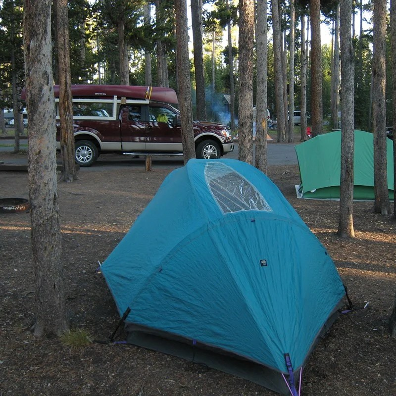 Campsites at Grant Village Campground in Yellowstone National Park