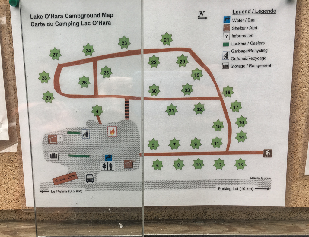 Lake O'Hara campground map
