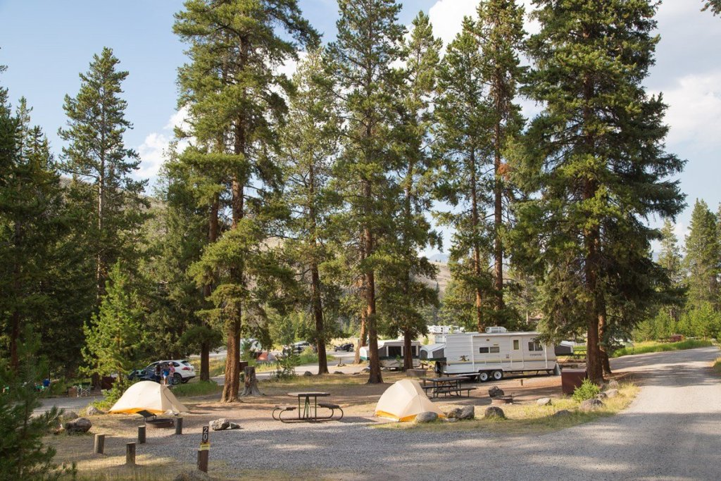 Camping at Tower Fall Campground in Yellowstone National Park