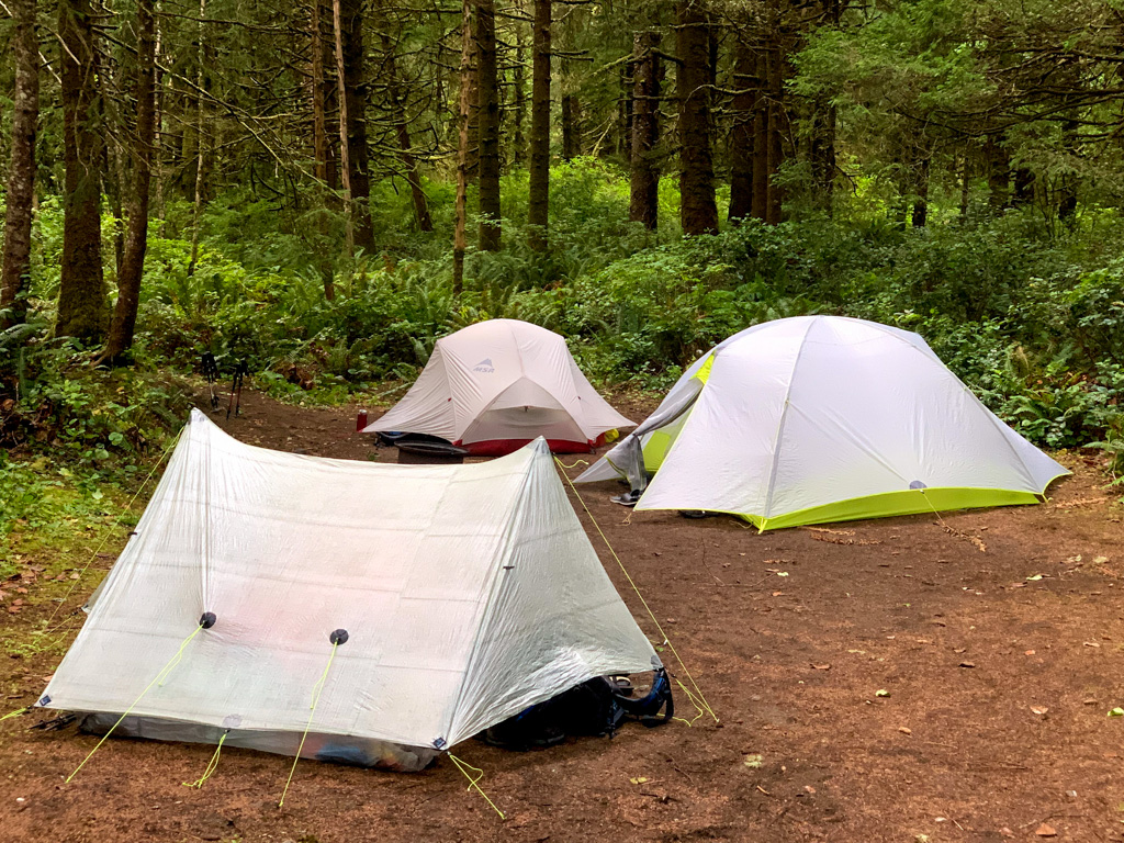 Tents at the Pachena Bay campground near Bamfield, BC