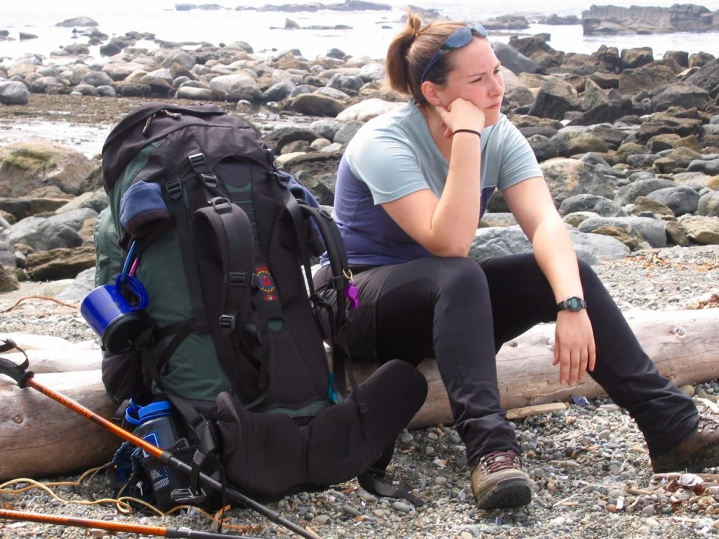 A hiker with a giant backpack on the West Coast Trail in 2004